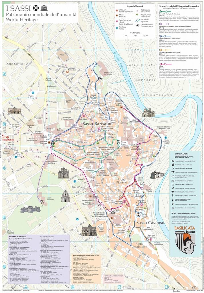 Cartina Basilicata.Mappa Turistica Dei Sassi Di Matera E Pdf Da Stampare
